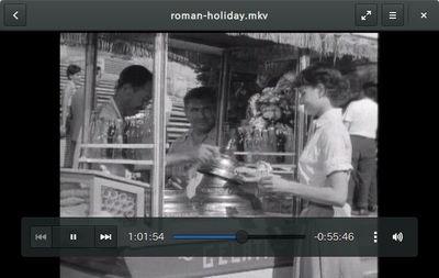 図4 パブリックドメインの『ローマの休日』を再生しました