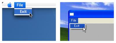 Mac OS XのアプリケーションメニューとWindowsのウィンドウメニュー