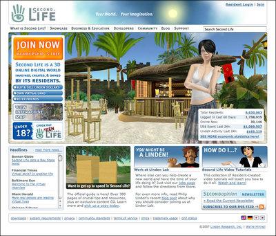 Second LifeのWebサイト