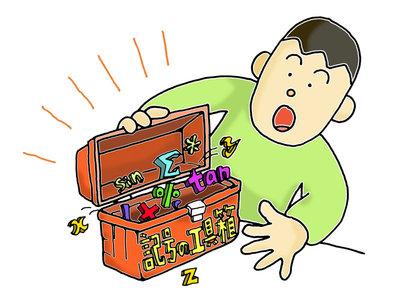 図3.1 工具箱を開くプログラマ。工具箱は演算記号の宝箱