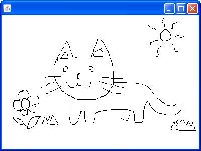 画面にマウスで自由に描ける「お絵かき」プログラムも