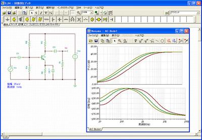 本書サンプル回路例。パラメータ・ステッピングを使うと,抵抗値やコンデンサの容量を何段階かに自動で切り替えて,信号の変化を比較観察できるので,本で説明されたしくみがよくわかる(図は増幅回路のバイパスコンデンサの容量を変えたときの周波数特性変化)