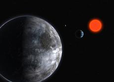 グリース581と,生命のいる可能性がある惑星。 グリーセ581とそれを廻る惑星の想像図。そのうちのグリース581cは生命のいる可能性がある惑星として注目されている。ただし地球と比べて質量は5倍,半径は1.5倍で,公転周期は13日であるという。(『宇宙は地球であふれている』より。提供:ESO)