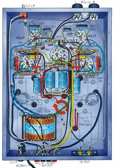 これが実体配線図。回路図と見比べてみよう