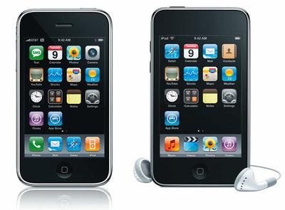 iPhone(左)とiPod touch(右)。見た目はほとんど変わらない