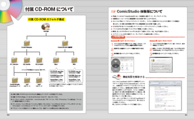 付属CD-ROMにはComicStudioEX 4.0体験版と,本紙に掲載のマンガ3本を収録していますので,紙面を見ながら,マンガデータの実際を確認することができます。