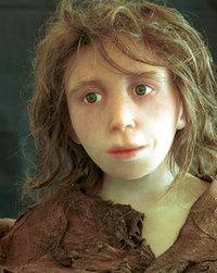 ネアンデルタール人の少女の復元模型。コンピュータによる復元をもとにシリコンキャストを作り塗装した