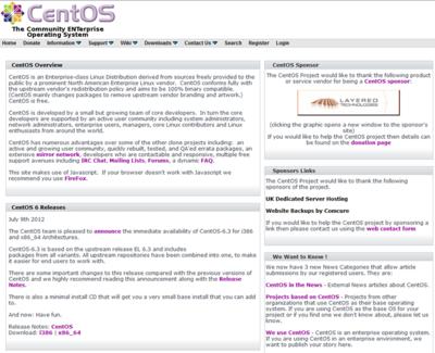 図 CentOSのWebページ