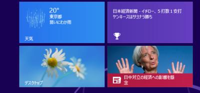天気とニュースがタイルに表示されている