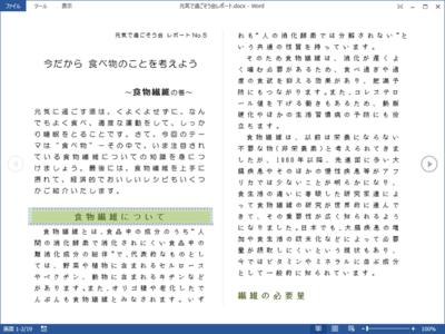 閲覧モード:Word 2010の全画面閲覧モードがより便利になった。2種類の表示レイアウトを選ぶことができる(下の画面は列のレイアウト)