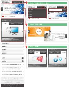 スマートフォンサイトとPCサイトの比較。スマートフォンサイトでは,狭い画面サイズを活用するためのUI(ドロップダウン/タブ/アコーディオンなど)を駆使する必要がある。また,タップしやすいようにリンクエリアを大きめにしないといけない