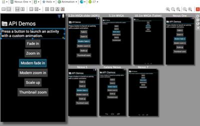 Graphical Layout Editorによる異なるスクリーンでのプレビュー