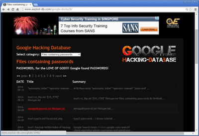 図4 Google Hacking-Database