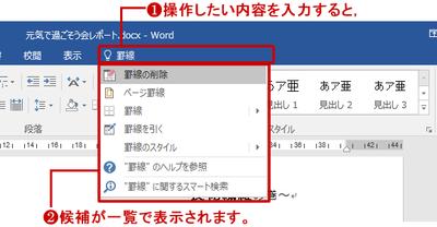 操作アシスト(Word 2016の例)