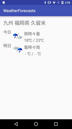 図5 指定した地域の天気予報を表示