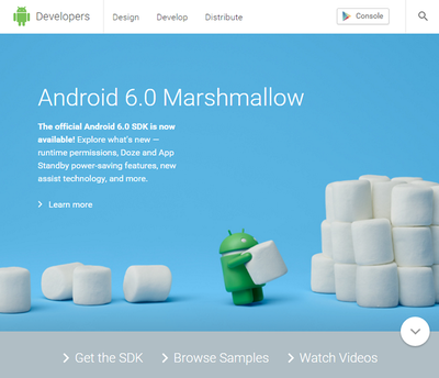 図2 Android DeveloperのWebサイト