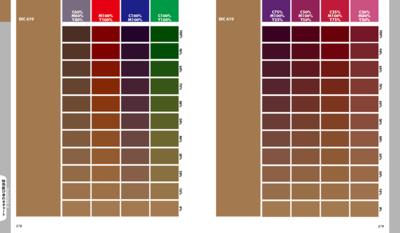 仕上がりイメージがわかりにくい特色の掛け合わせチャート。デザインの作成前に配色をイメージしやすくなります