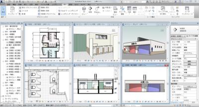 BIMによる設計の例。1つの3Dモデルからさまざまな図面が生成されている