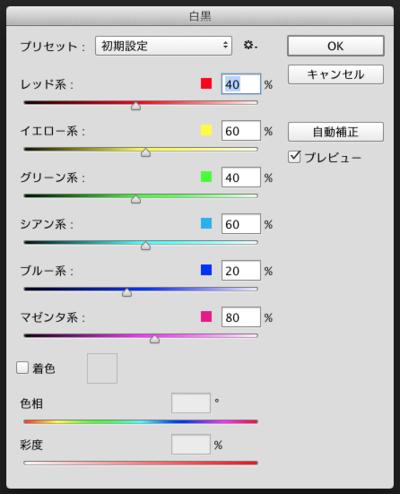 ② レッド系,イエロー系,グリーン系,シアン系,ブルー系,マゼンタ系という6つの色系統で白黒にしたときの明るさを調整できる。[着色]で,白黒だけでなくセピア調などに調色することも可能だ