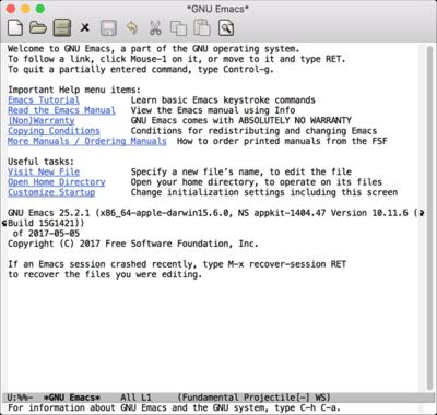 図1 Emacsの起動画面