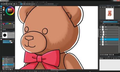MediBang Paint Proの画面。描くのに必要なウィンドウやツールが揃っている