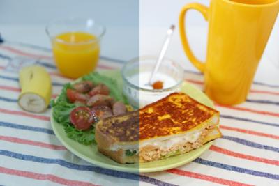 図2 暗い印象の食べ物の写真(左)を,明るく直すこともできます(右)