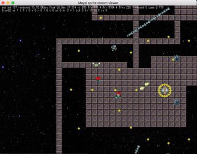 図a 『Kepler 22b』開発中の様子。宇宙が舞台の,2D全方向シューティングのクラウドゲーム(試作)
