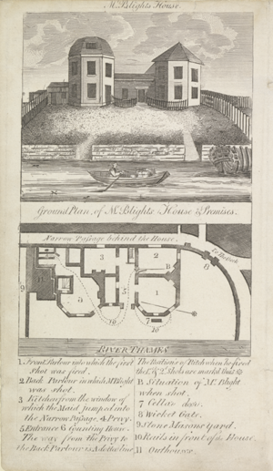 図3 19世紀初頭に出版された報道用インフォグラフィック「Ground Plan of Mr. Blight's House and Premises(ブライト氏の家と敷地の平面図)」