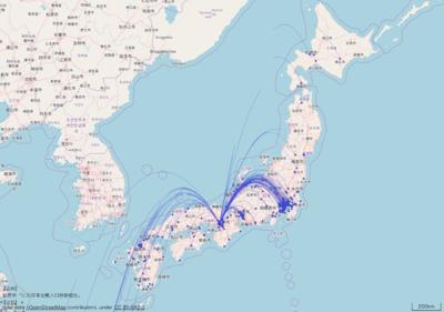 図5 RESASで作成された大阪市の転出超過を表す花火図
