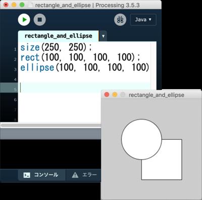 図2 Processingのコードと実行結果