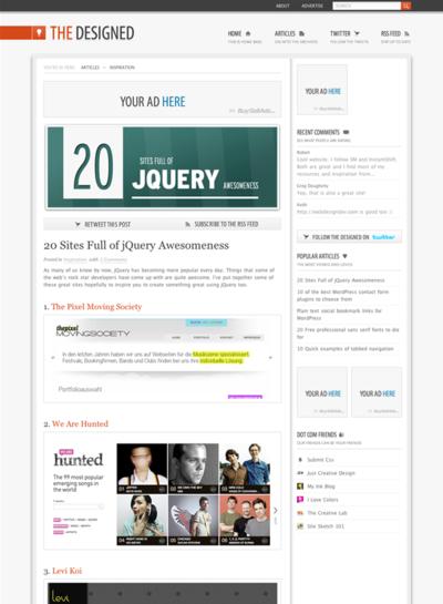 図3 jQueryを使ったすごいサイト集です