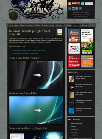 図2 光の効果のPhotoshopチュートリアル集