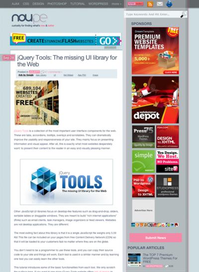 図4  UIライブラリ「jQuery Tools」の解説