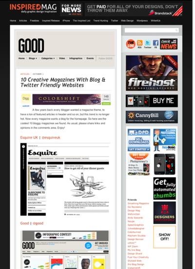 図3 ブログとTwitterの両方で情報発信している雑誌サイト