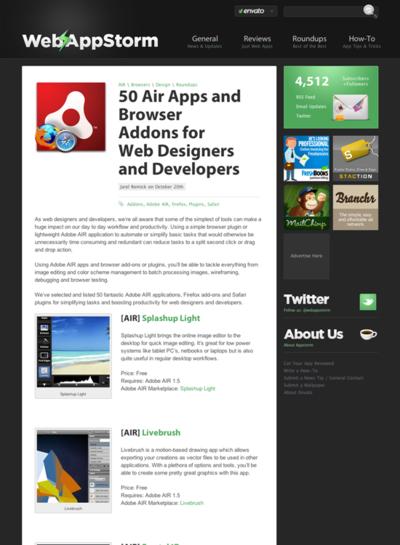 図3 AIRアプリとブラウザアドオンを50個も紹介