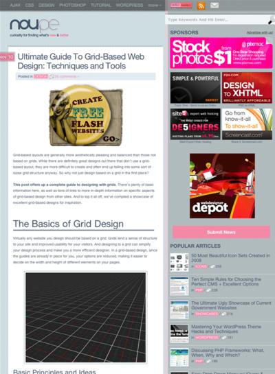 図1 グリッドベースのWebデザインの手引き