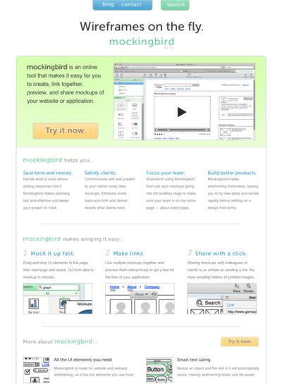 図6 オンラインのワイヤーフレーム作成ツール「Mockingbird」