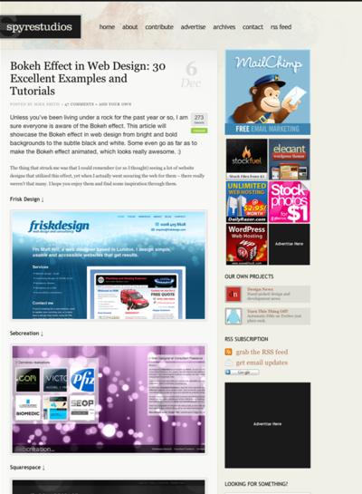 図4 Webデザインに使われたBokeh(ぼけ)効果
