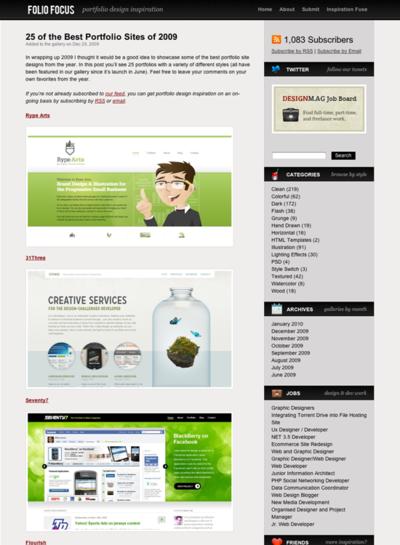 図5 2009年のベストなポートフォリオサイトを紹介