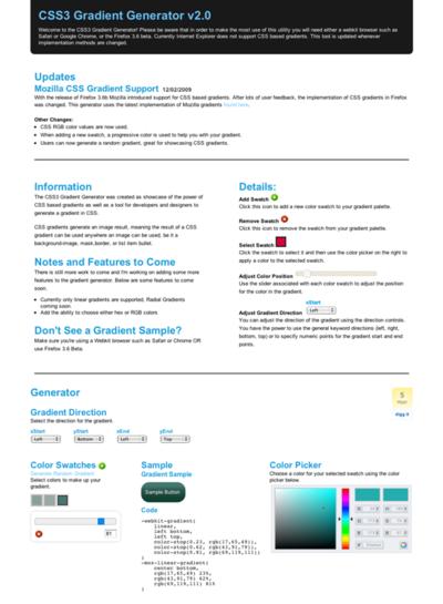 図6 CSS3用グラデーションジェネレーター