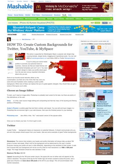 図4 Twitter,YouTube,MySpaceの背景画像をカスタマイズする方法