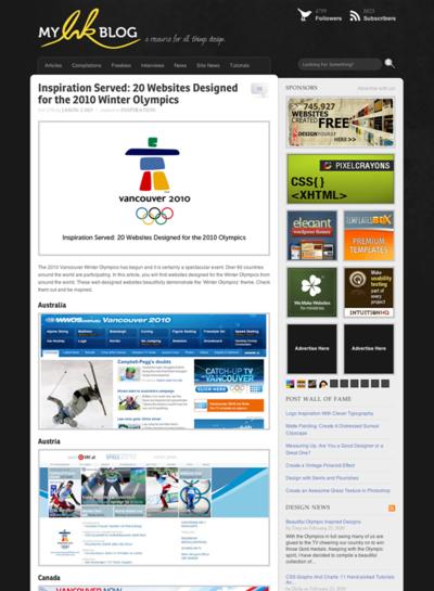 図5 バンクーバーオリンピック関連のサイトギャラリー