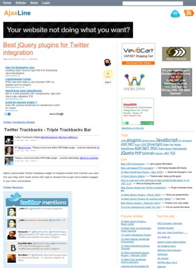 図3 ツイッターをサイトに組み込むためのjQueryプラグインいろいろ