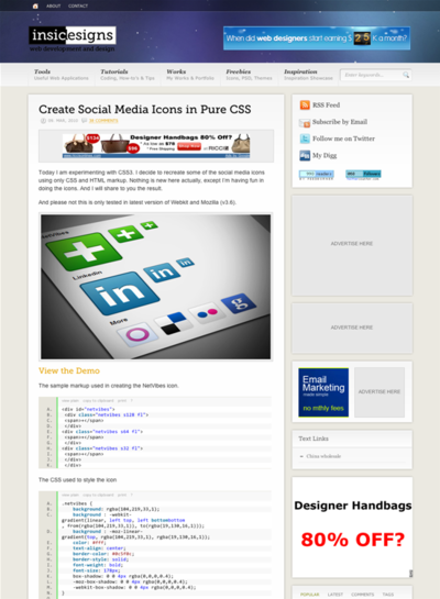図3 CSSだけで作るソーシャルメディアのアイコン
