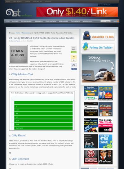 図1 HTML5とCSS3のツール,情報源,ガイド