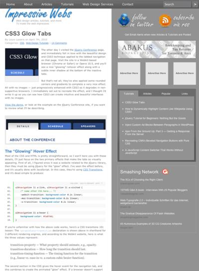 図4 CSS3で実現したタブ