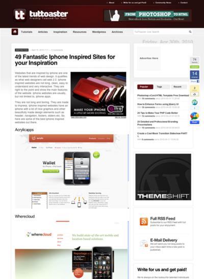 図5 デザインの優れたiPhone関連のサイト集