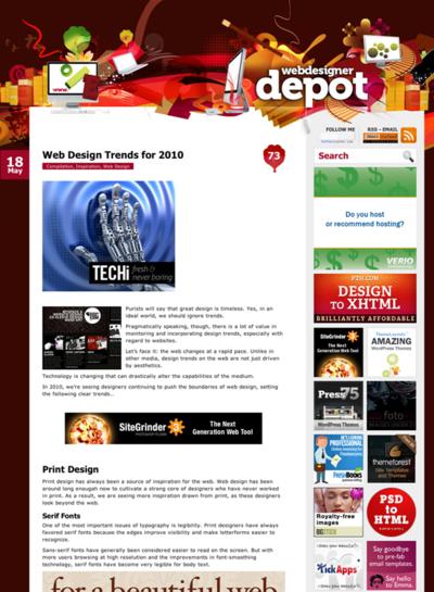 図1 2010年のWebデザインのトレンド
