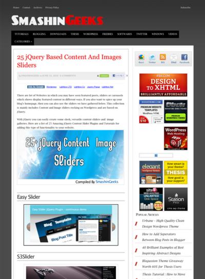 図2 jQueryベースのコンテンツ/イメージのスライダー