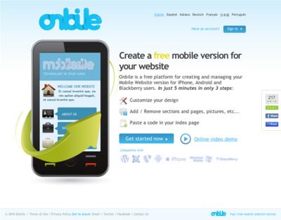 図6 フリーのモバイルサイト構築サービス Onbile